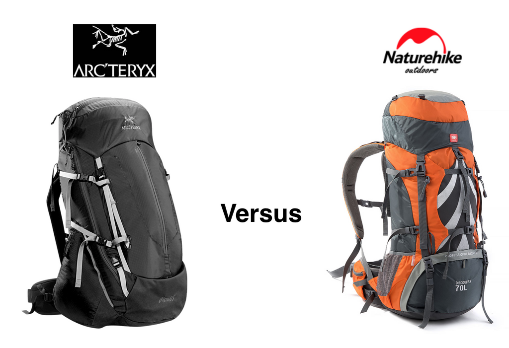 Arcteryx Altra 65 Backpack versus the NatureHike 70L Ergonomic Hiking Pack - Brand name or budget?