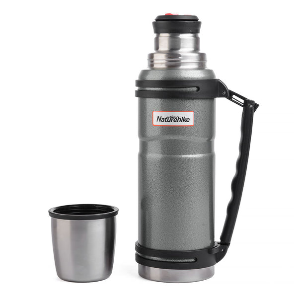 NatureHike 1.2 litre stainless steel thermos flask with lid off