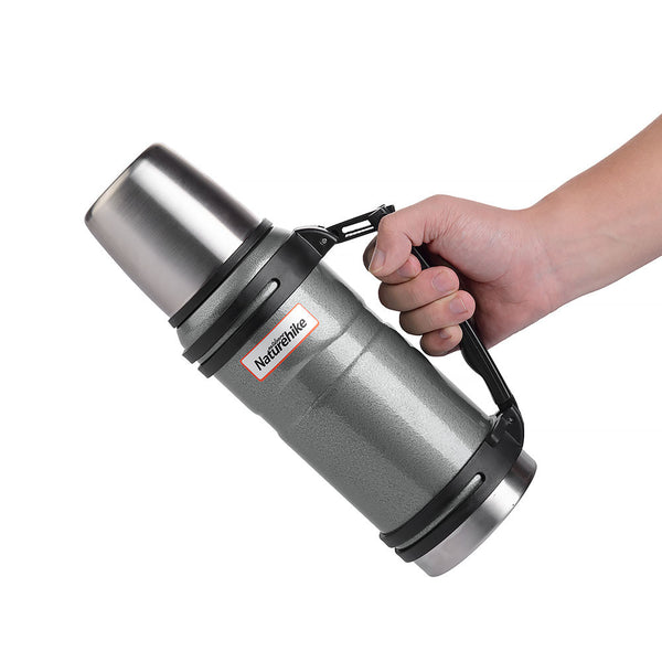 Side view of NatureHike 1 litre stainless steel thermos flask