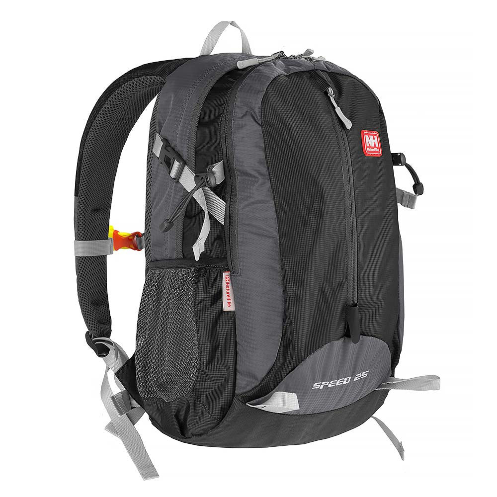 NatureHike 25L Lightweight Day Pack front view in black and grey