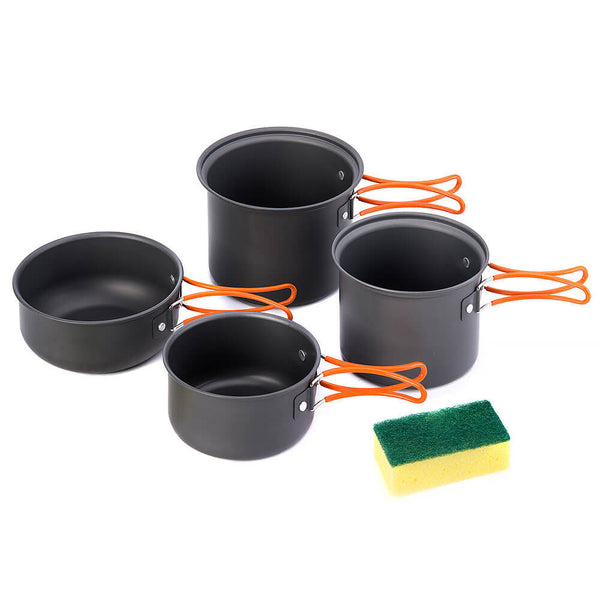 NatureHike 4 piece Compact Pot and Pan camp cooking set (NH15T401-G)