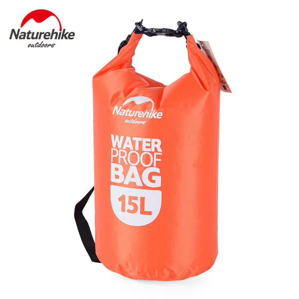 NatureHike 15 litre waterproof dry bag in orange