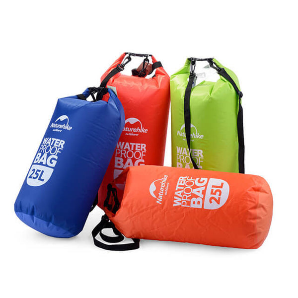 The 4 Colours available for the Naturehike 25L Dry Bag - Red, Green, Blue and Orange.