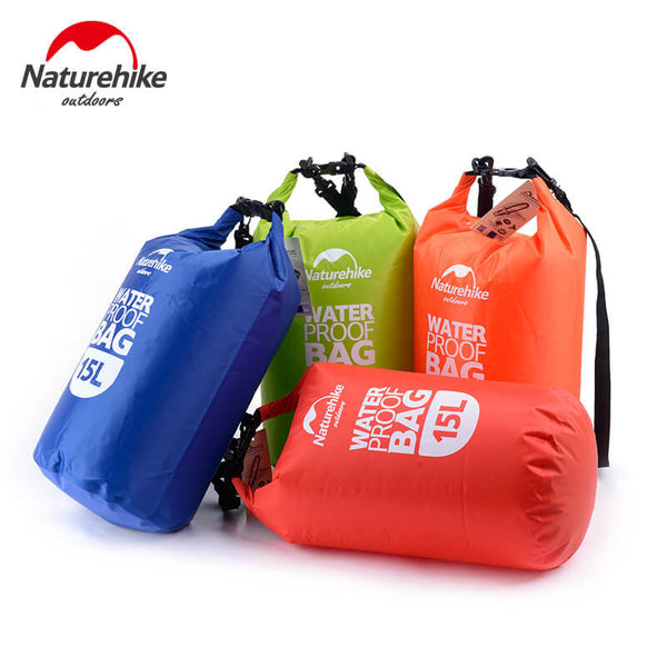 NatureHike's 15 litre dry bag comes in 4 colours - red, green, blue and orange