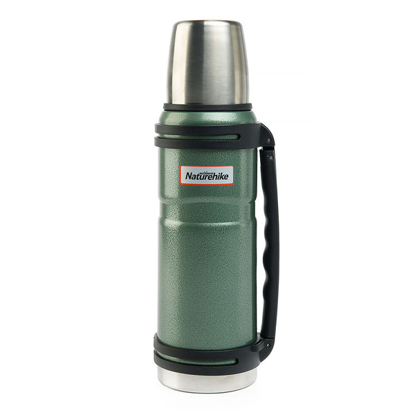 NatureHike 1.2 litre stainless steel thermos flask in green steel