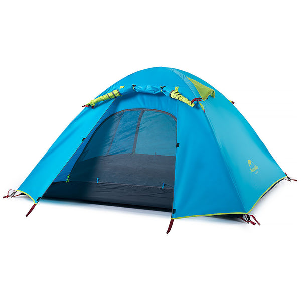NatureHike 4 Man P Series Dome Tent in sea blue with front door rolled up