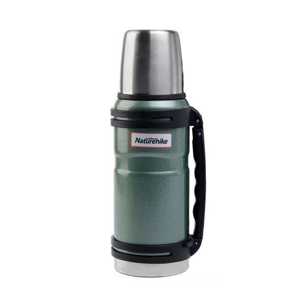 NatureHike 1 litre stainless steel thermos flask in green tint