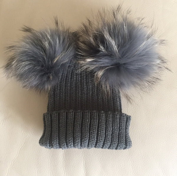 Mini dark grey double Pom Pom hat – Beyond Stylish a3952851711