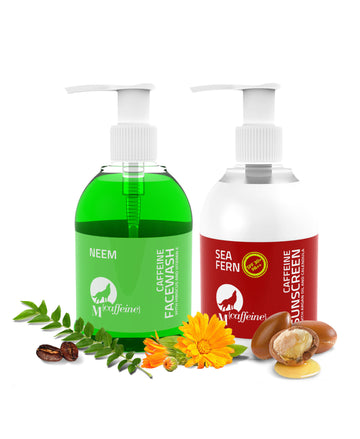 Tan Protection Kit - Neem Caffeine Face Wash + Sea Fern Caffeine Sunscreen
