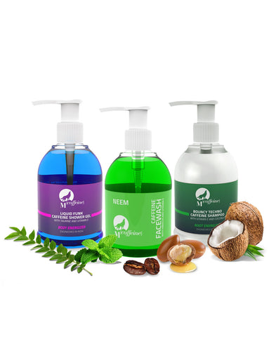 Bath Essentials - Caffeine Shampoo + Neem Caffeine Face Wash + Caffeine Shower Gel