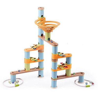 Fat Brain Toys Bamboo Builder Marble Run 127-piece Set