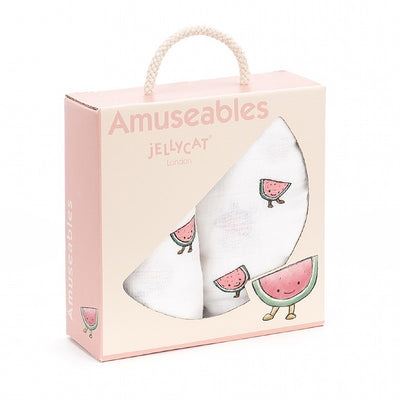 Jellycat Amuseable Watermelon Pair Of Muslins