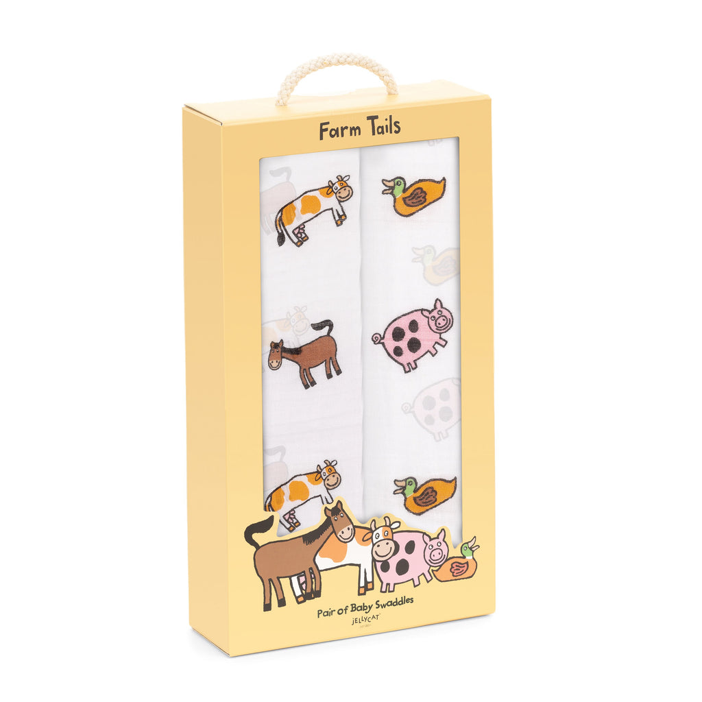 Jellycat Farm Tails Pair of Swaddles