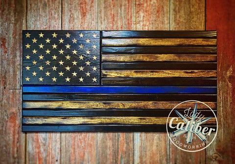 Thin Line Medium Wood American Flag 20x38