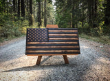 Medium Wood American Flag 20x38