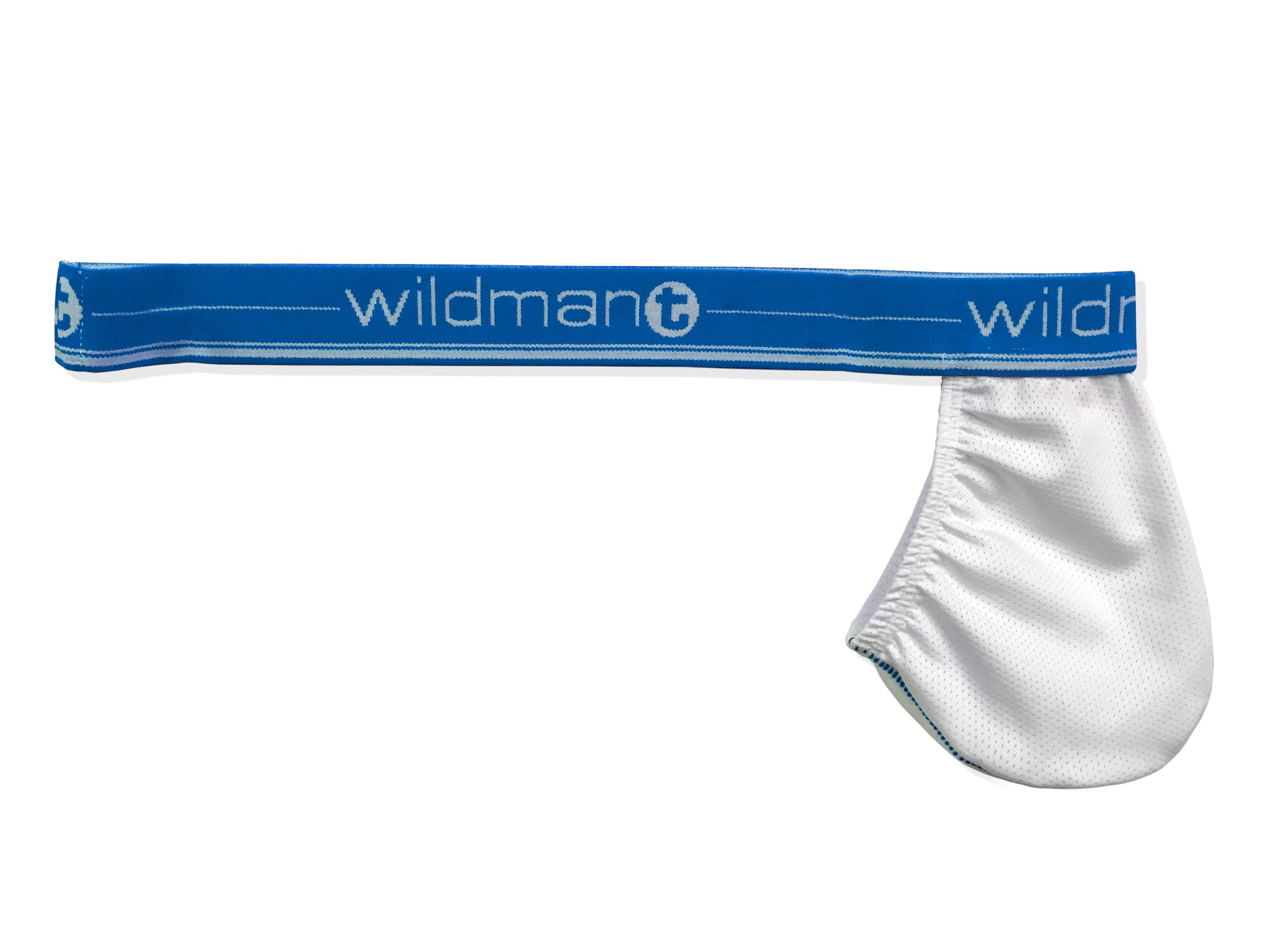 Big Boy Strapless Pouch White Mesh w/Blue Band - Big Penis Underwear, Wildman T - WildmanT