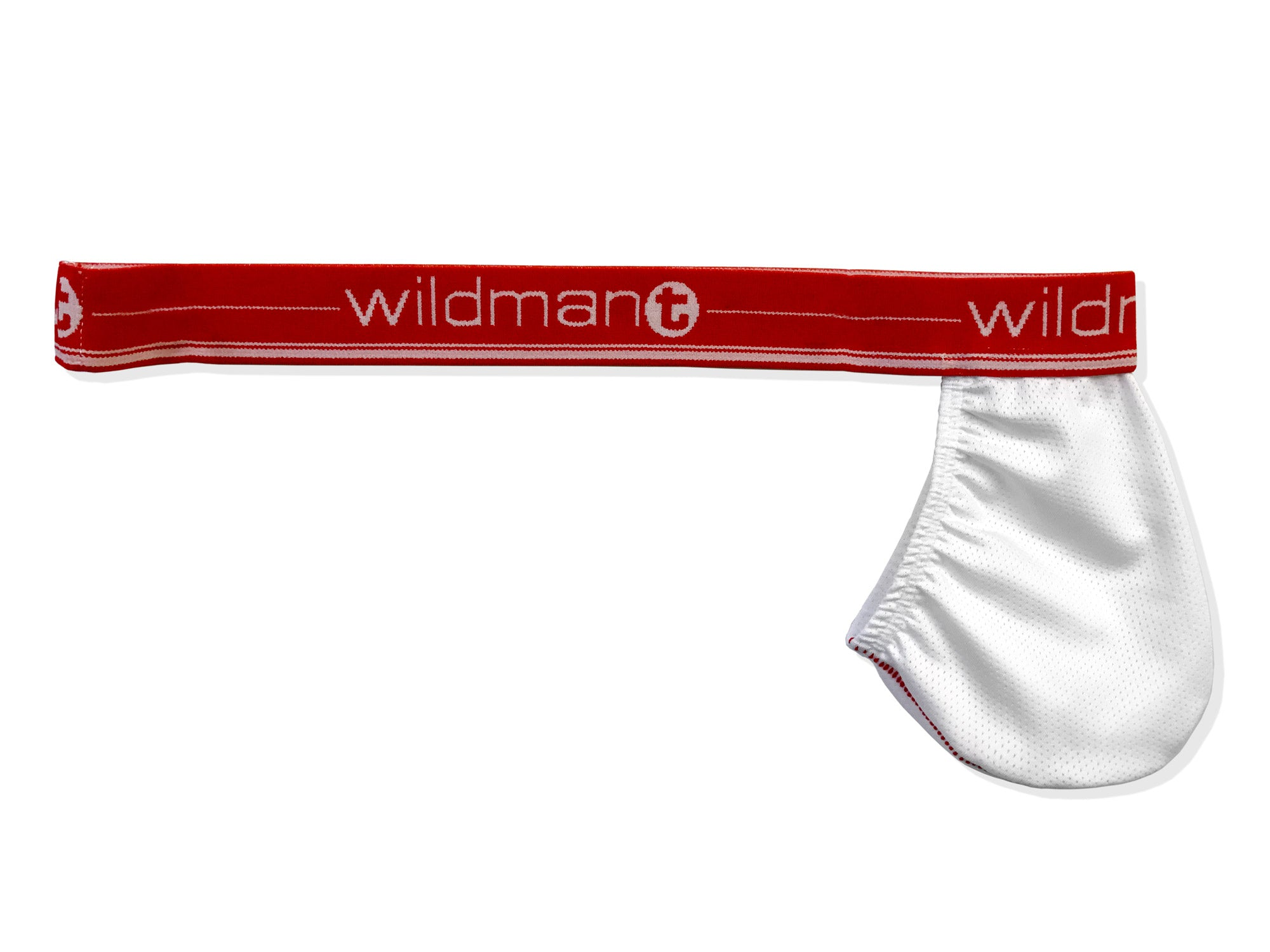 Big Boy Strapless Pouch White Mesh w/Red Band - Big Penis Underwear, Wildman T - WildmanT