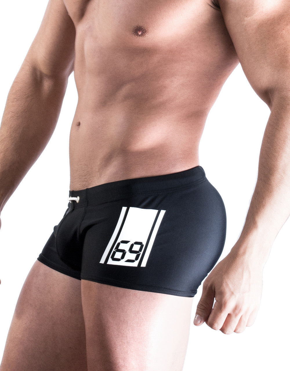 "WildmanT ""69"" SQUARE CUT SWIM BLACK - Big Penis Underwear, WildmanT - WildmanT"