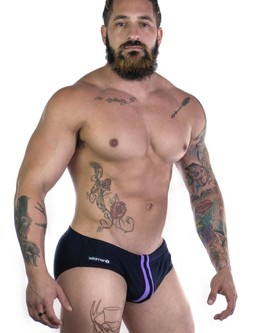 Sportivo Bikini Black & Purple - Big Penis Underwear, WildmanT - WildmanT