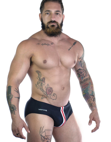Sportivo Bikini Black with Red Stripe - Big Penis Underwear, WildmanT - WildmanT