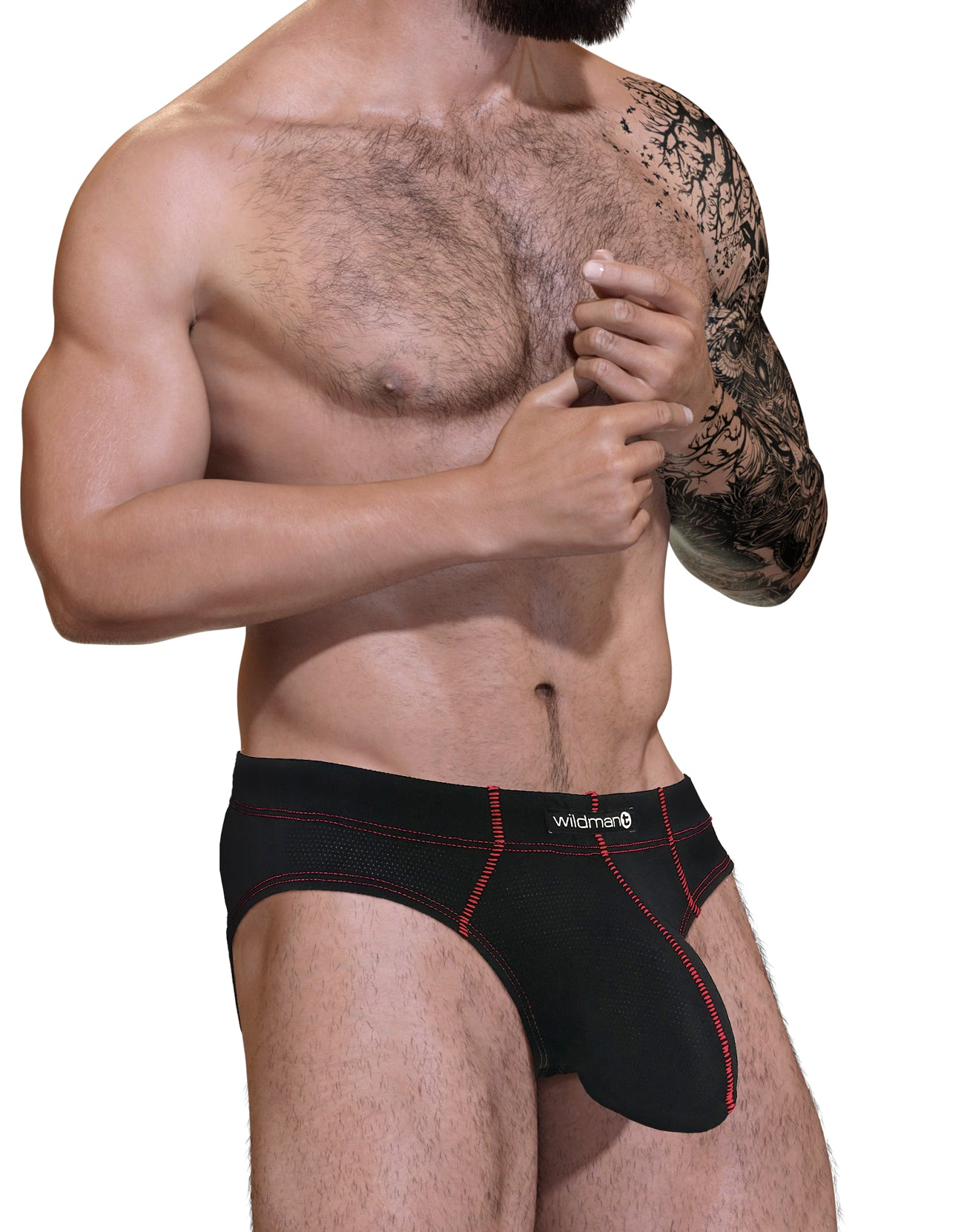 Stitch Big Boy Pouch Brief - Red - Big Penis Underwear, WildmanT - WildmanT