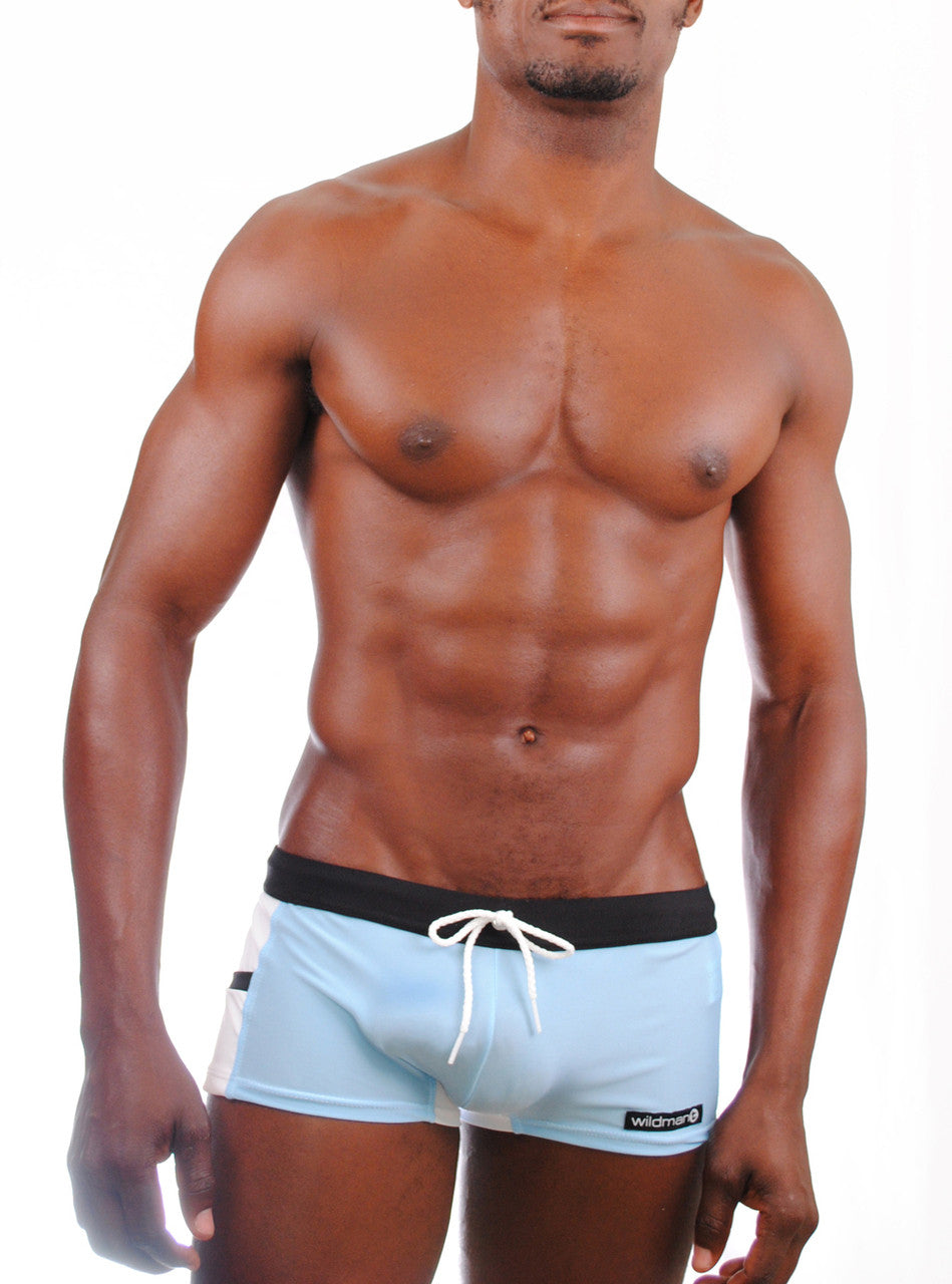 Wildmant: Semi Sheer Square Cut w/Cock Ring Blue - Big Penis Underwear, Wildman T - WildmanT