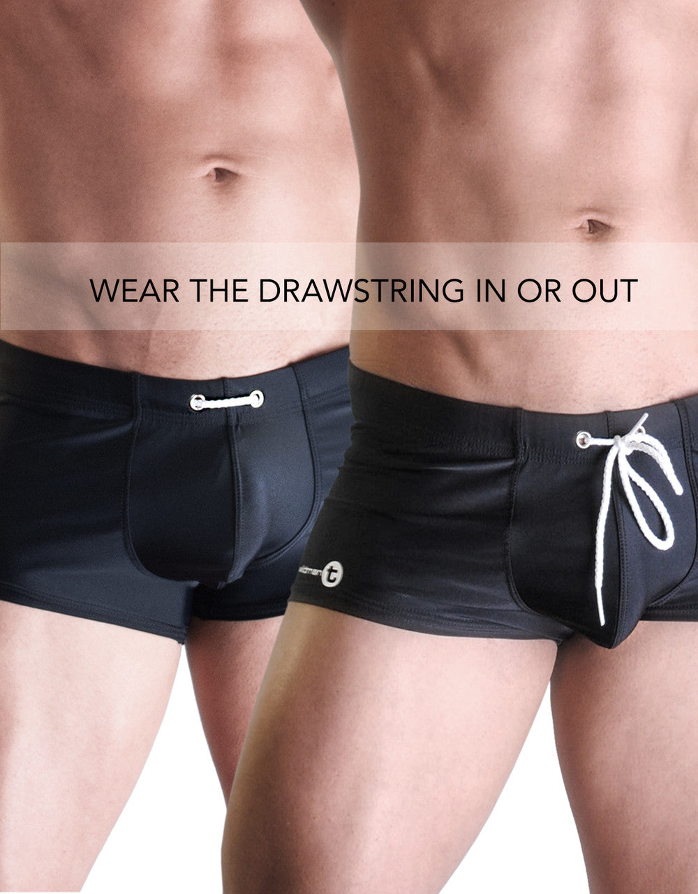"WildmanT ""10"" SQUARE CUT SWIM BLACK - Big Penis Underwear, WildmanT - WildmanT"