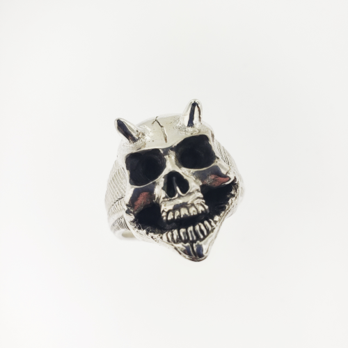 Horned Skull Ring (Naked) - 736 Masonic