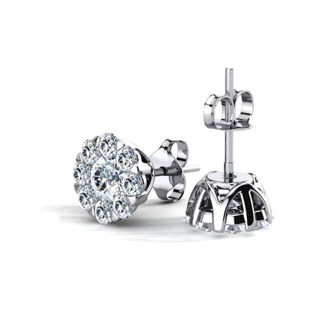 Prong-Set Cluster Round 925 sterling silver Stud Earring - 736 Masonic