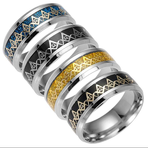 Enameled Stainless Steel 8mm Freemason Ring - 736 Masonic