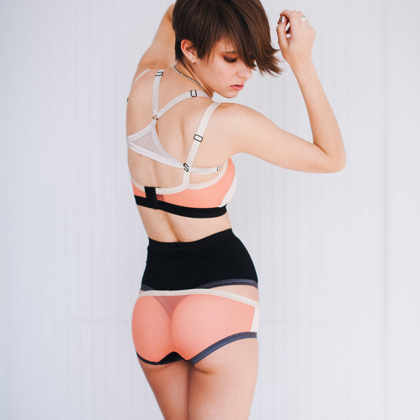 Radial Color Block Bralette – Silk Rose Quartz