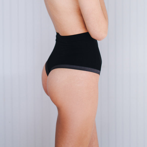 Altitude High Waist Thong - Black