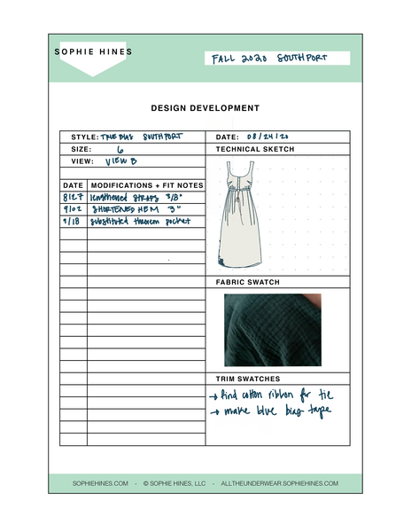 Design Development Sheets - Downloadable PDF + PNG