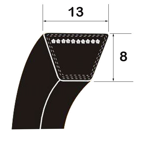 "A Section 2438mm/96"" Rubber V Belt"