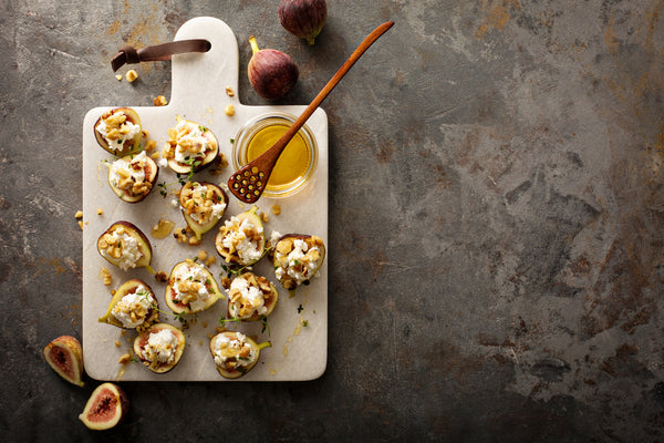 Stuffed Figs with Paprika Cream Cheese and Caramelized Walnuts