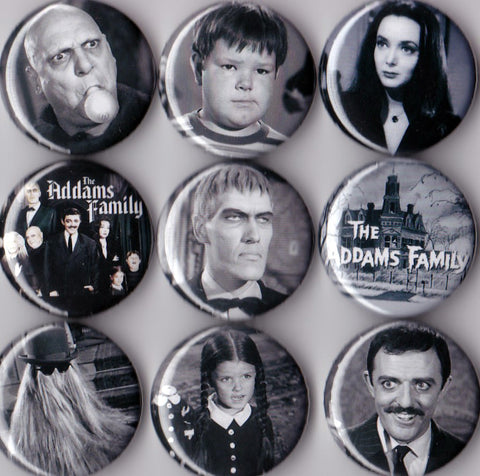 Addams Family Pinback Buttons set of 9 Pins - Pindependent Pinbacks