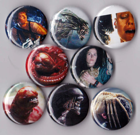Aliens Pinback Buttons or Magnets set of 8 - Pindependent Pinbacks