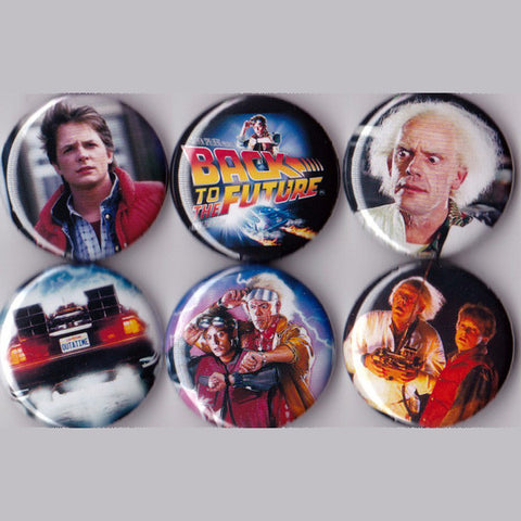 Back to the Future Pinback Buttons set of 6 Pins - Pindependent Pinbacks