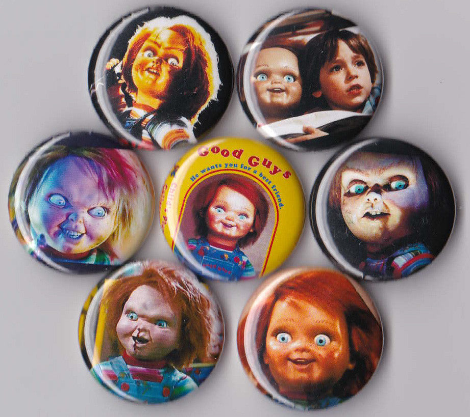 Child's Play Pinback Buttons set of 7 - Pindependent Pinbacks