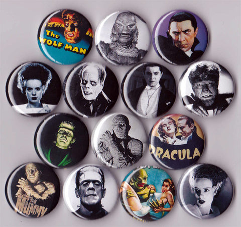 Classic Horror Movie Buttons Universal Monsters set of 14 - Pindependent Pinbacks