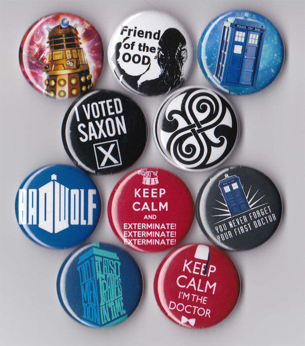 Dr. Who Pinback Buttons Set of 10 - Pindependent Pinbacks