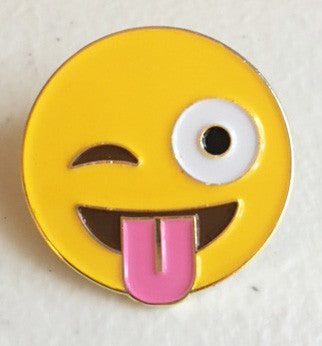 Emoji Winking Face with Tongue Enamel Pin - Pindependent Pinbacks