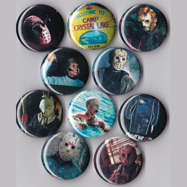 Friday the 13th Pinback Buttons set of 10 - Pindependent Pinbacks