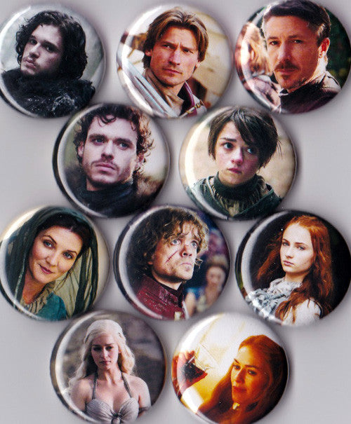 Game of Thrones Pinback Buttons set of 10 - Pindependent Pinbacks