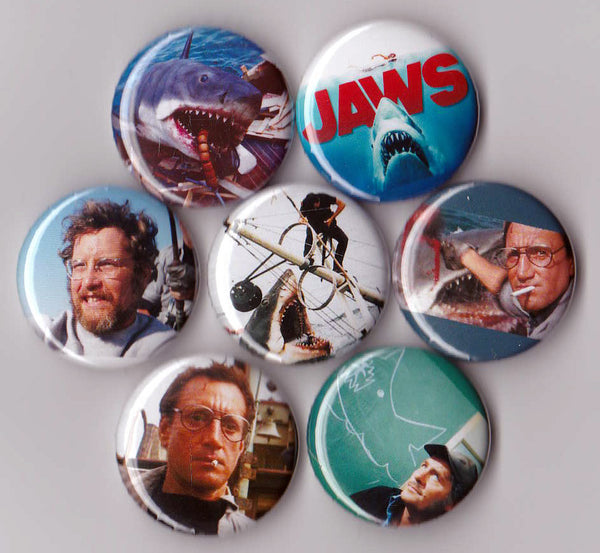 JAWS Pinback Buttons or Magnets set of 7 - Pindependent Pinbacks