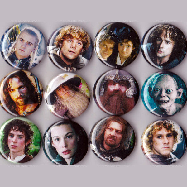 Lord of the Rings Pinback Buttons set of 12 - Pindependent Pinbacks