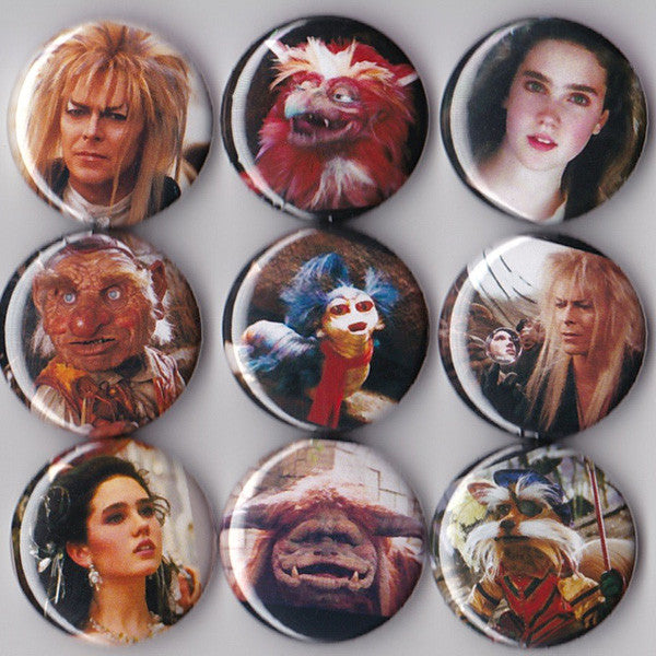 Labyrinth Pinback Buttons or Magnets set of 9 - Pindependent Pinbacks