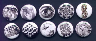 M.C. Escher Pinback Buttons or Magnets set of 10 - Pindependent Pinbacks