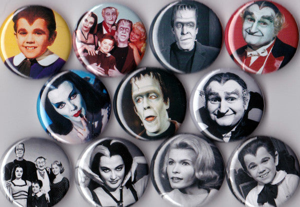 Munsters Pinback Buttons set of 11 - Pindependent Pinbacks