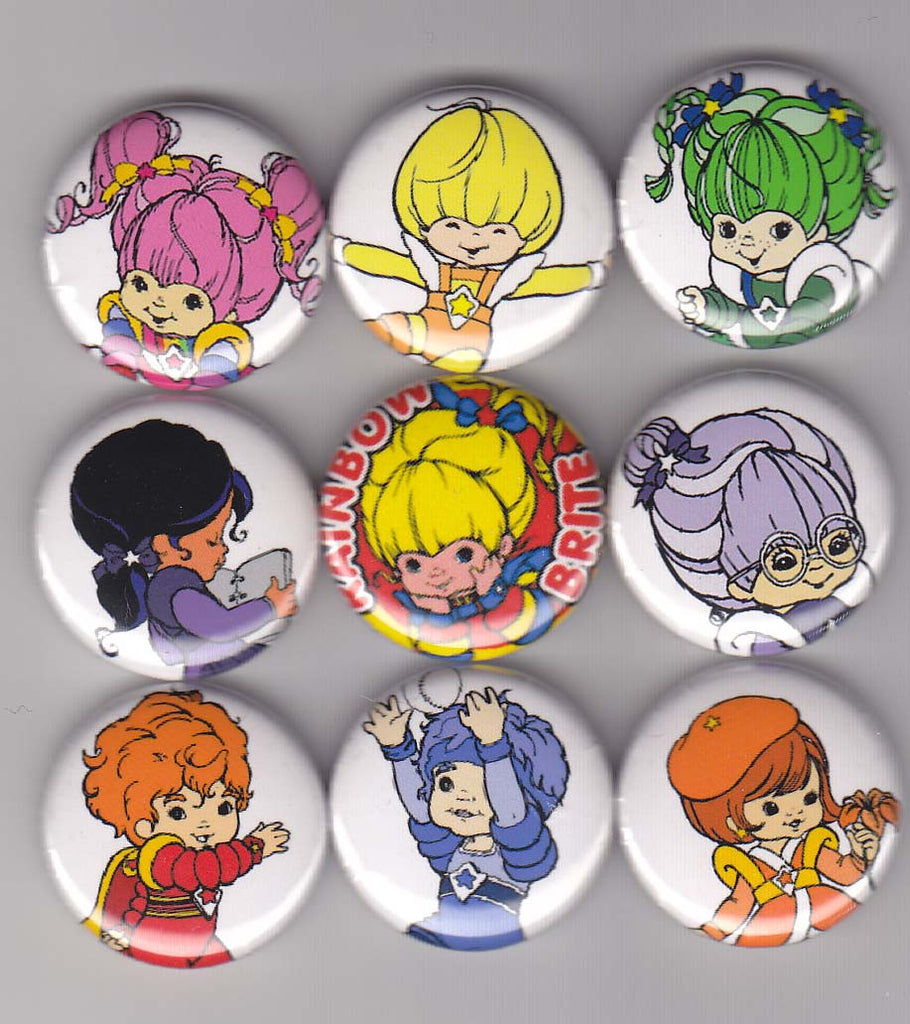 Rainbow Brite Pinback Buttons or Magnets set of 9 - Pindependent Pinbacks